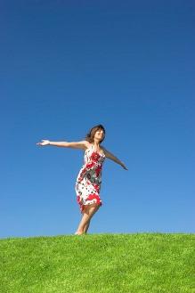 Just Love Walking Joyful Woman