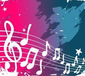 Hot Pink and Teal Musical Notes
